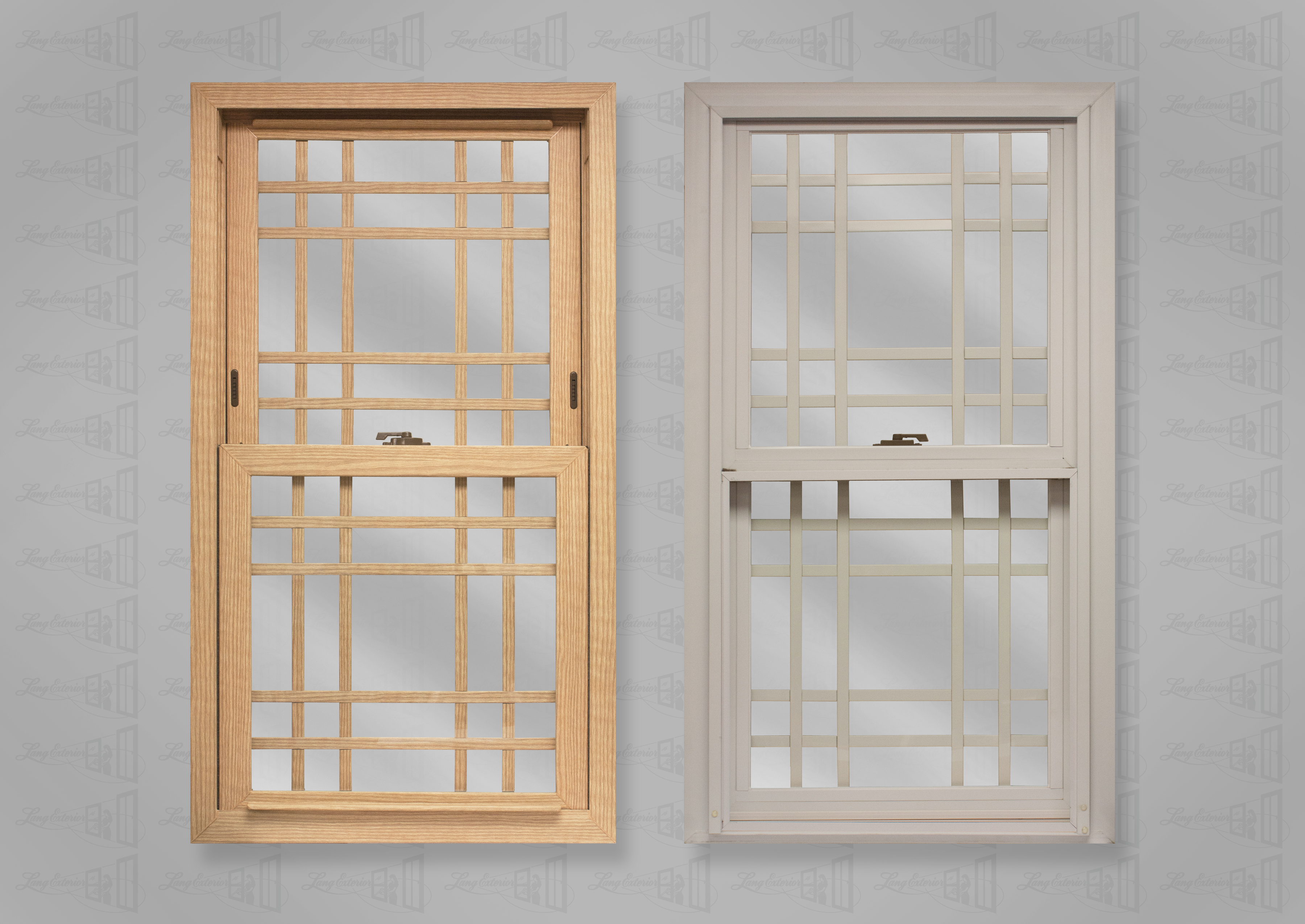 wp lang exterior powerweld double hung stainable oak white double prarie grids