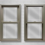 Lang exterior beige powerweld double hung single prarie v-groove glass