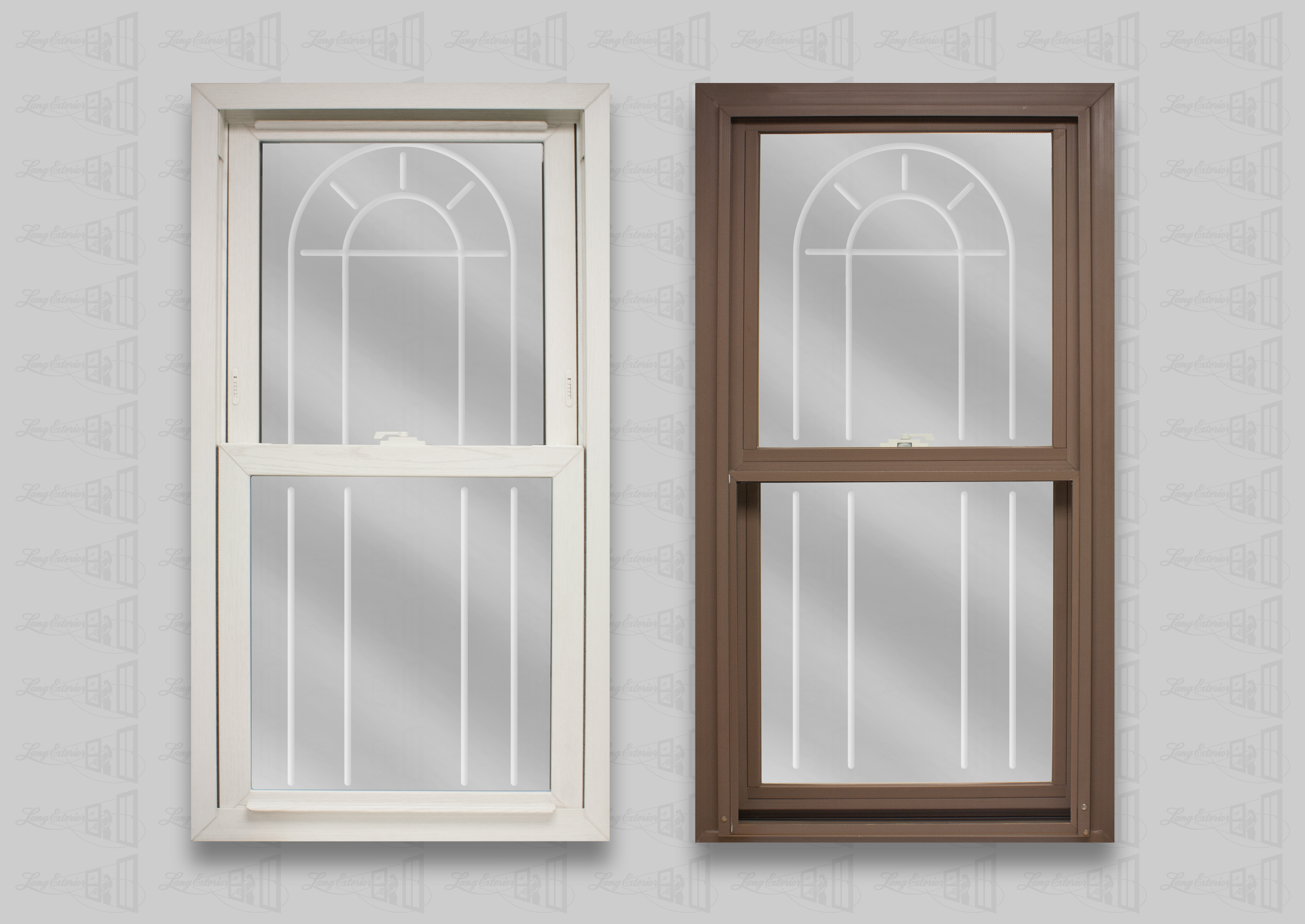 wp lang exterior bengal white cocoa powerweld double hung archview v-groove glass