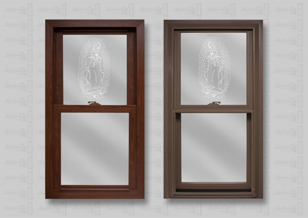 Lang Exterior Cherry Oak Woodgrain Interior and Cocoa Exterior with Guadalupe V-Groove Glass