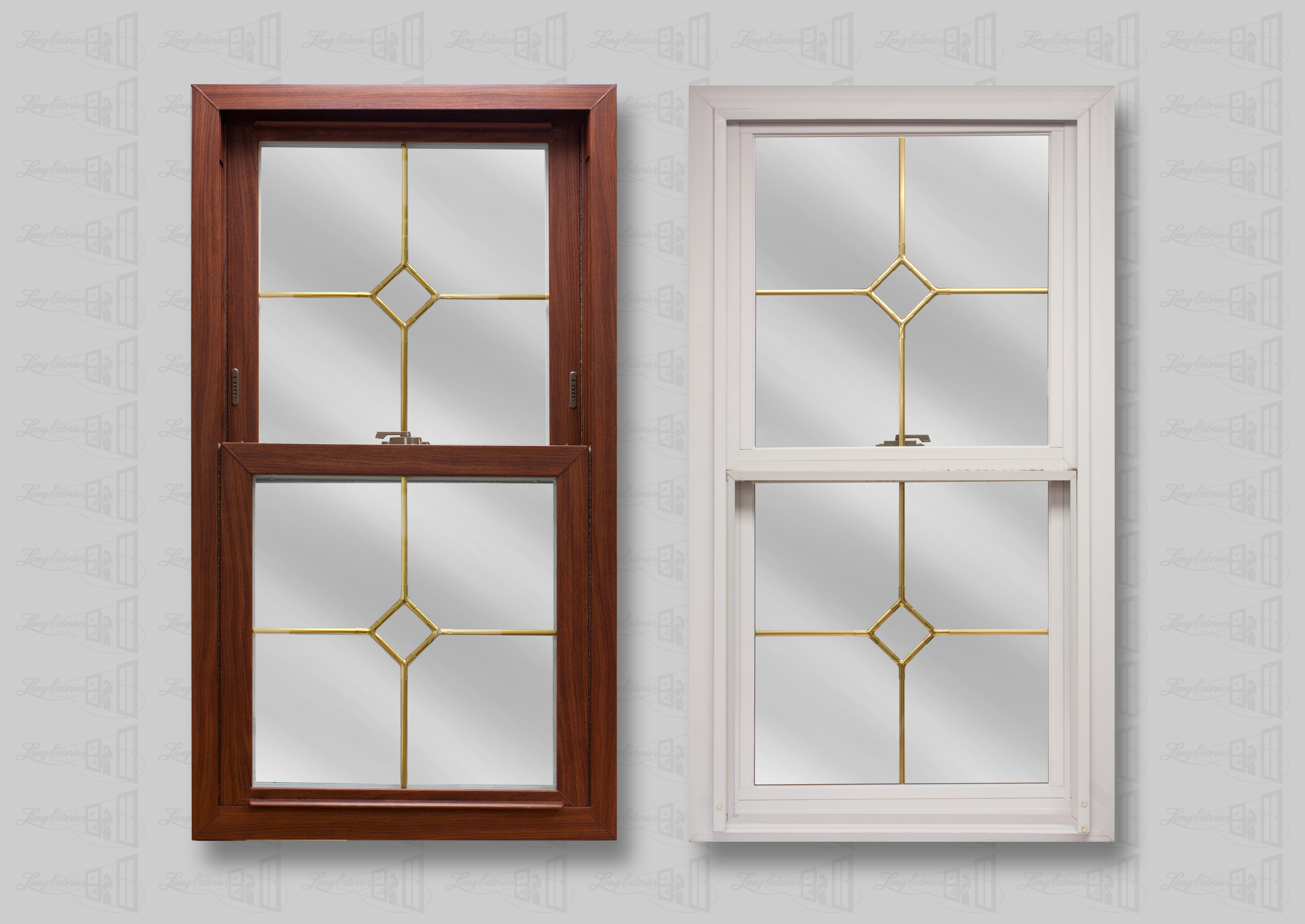 Lang Exterior Cherry Woodgrain on White with Middle Diamond Brass Grids