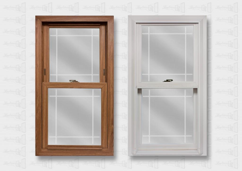 Lang Exterior Dark Oak White Platinum Window Prarie V-Groove Glass