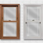 Lang Exterior Dark Oak White Platinum Window Prarie V-Groove Glass