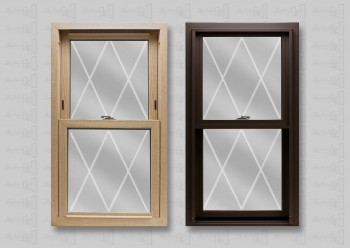 Lang Exterior Stainable Oak Woodgrain Interior and Cocoa Exterior with Diamond V-Groove Glass Window