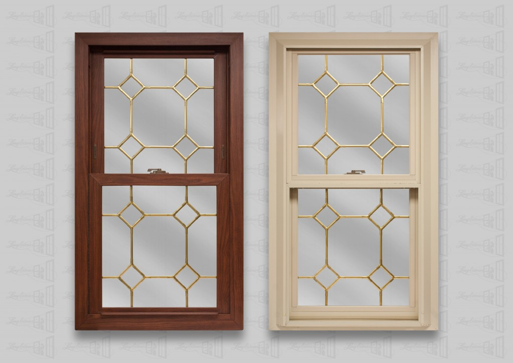 wp lang exterior platinum 2400 cherry oak beige double hung brass diamond corner grids
